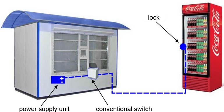 scheme of electromechanical lock with conventional switch